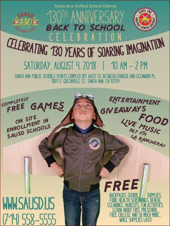 SAUSD 130th Anniversary Back To School Celebration, SATURDAY, AUGUST 4th (10am - 2pm)