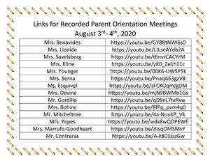 Links to Orientation Meetings