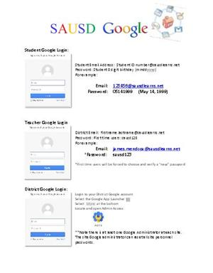 Google Account Reference Sheet