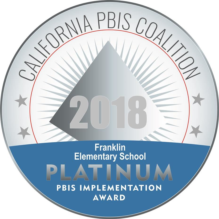 Franklin Elementary is recognized by the PBIS State Coalition with the Platinum Award