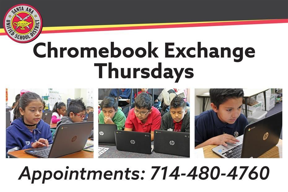 Chromebook Exchange/Repair Thursdays will be held by appointment only on Thursdays from 9 a.m. to 12 noon at the District Office, 1601 E. Chestnut Ave. Call for an appointment.