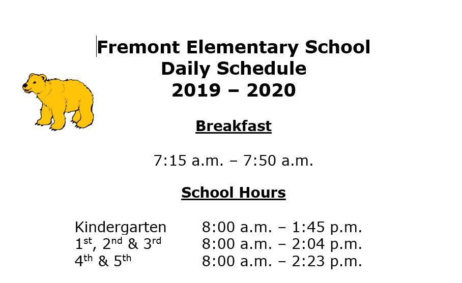 Fremont Daily Schedule