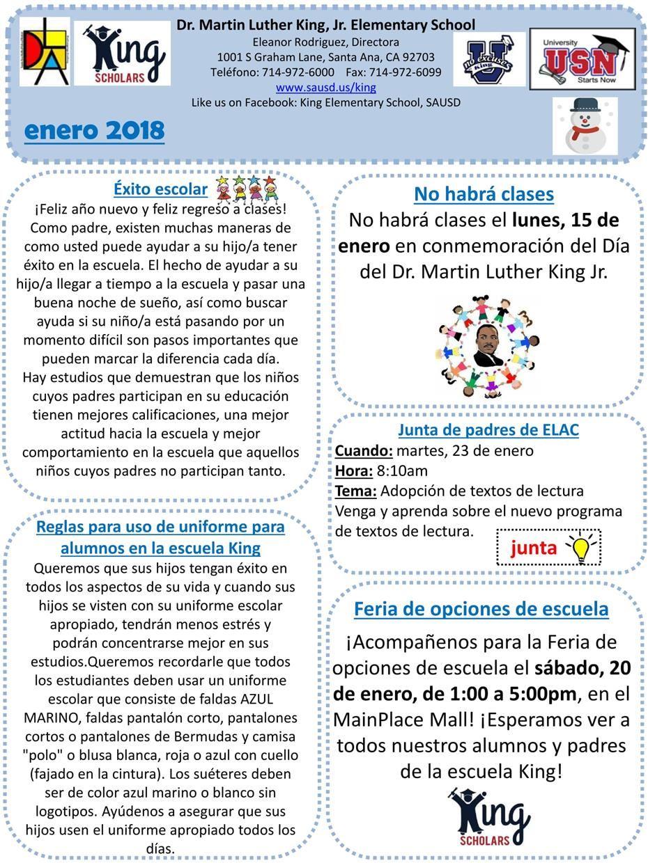 Parent Bulletin Enero
