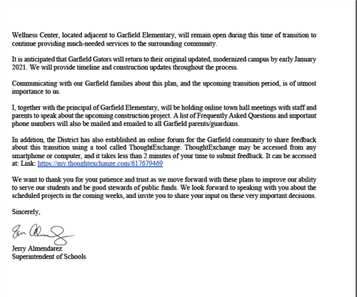 Letter to Garfield Families