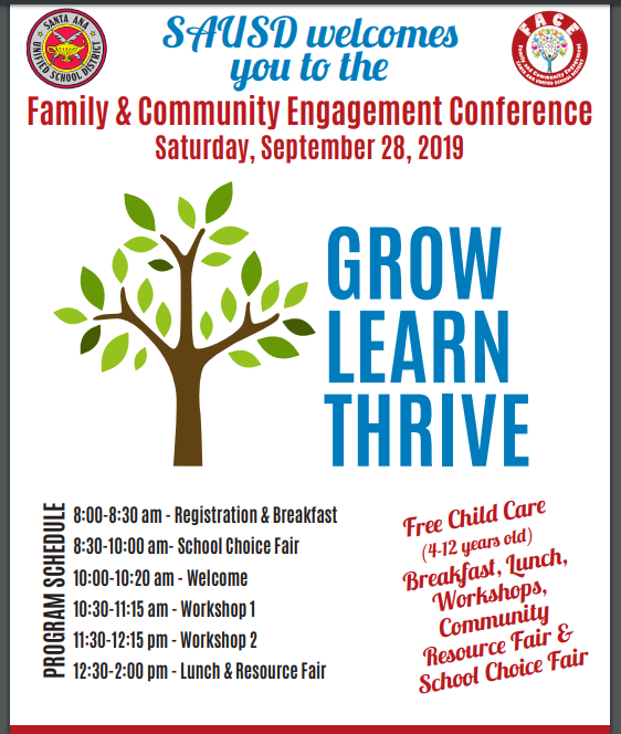 SAUSD Family & Community Engagement Conference on Saturday, September 28, 2019