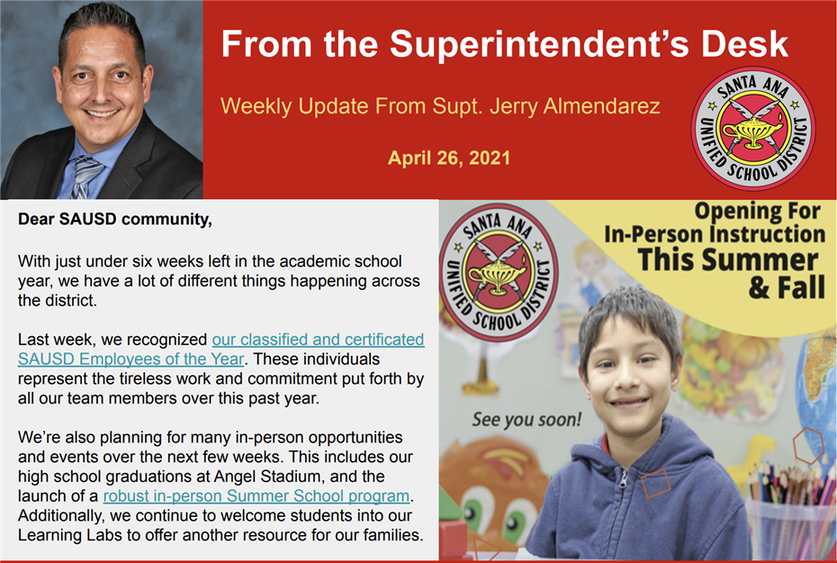 WEEKLY UPDATE FROM SUPERINTENDENT JERRY ALMENDAREZ: APRIL 26, 2021