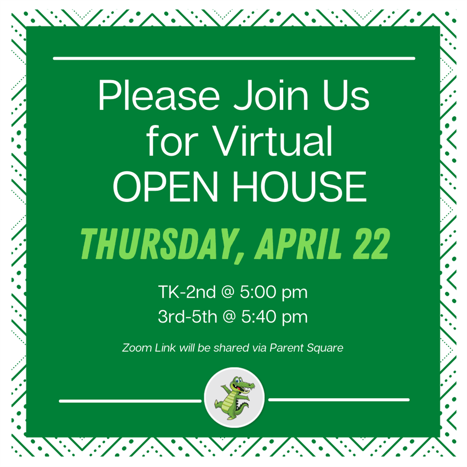We will be celebrating the school year with a Virtual Open House on Thursday, April 22 at 5:00PM fo