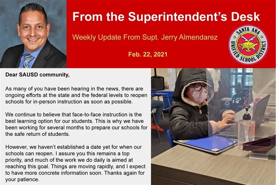 Weekly Update From Superintendent Jerry Almendarez, February 22nd, 2021