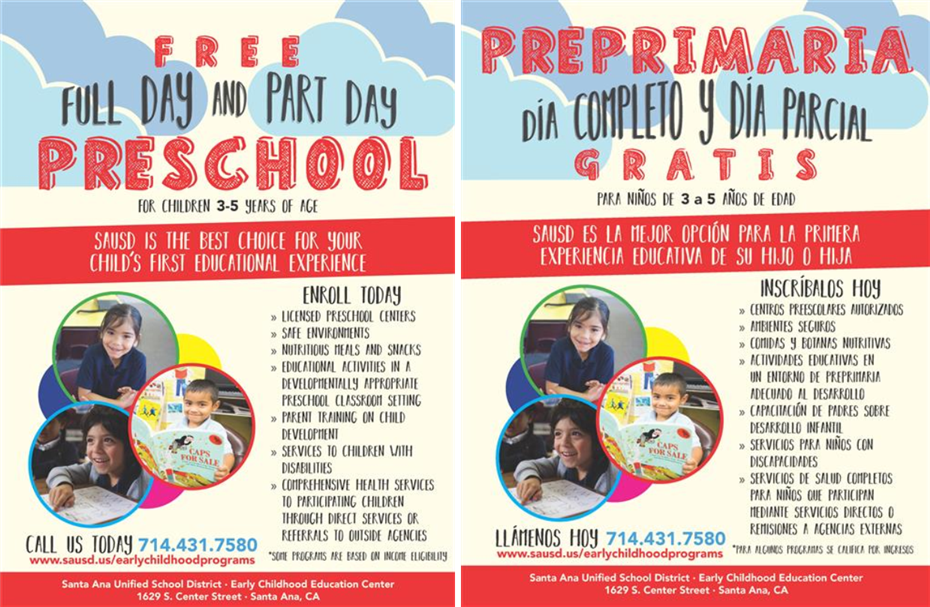 Full Day and Part Day Preschool 2019-2020