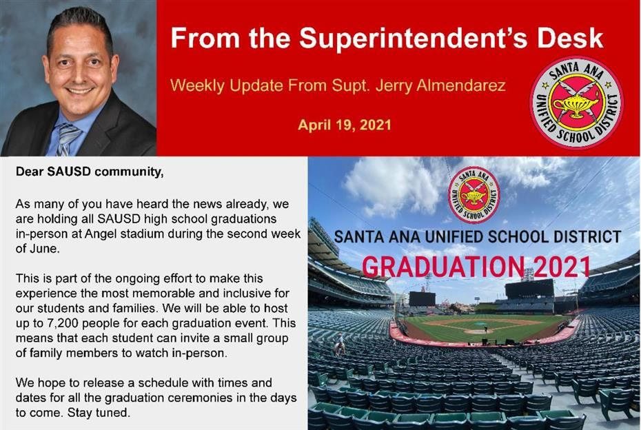 WEEKLY UPDATE FROM SUPERINTENDENT JERRY ALMENDAREZ: APRIL 19, 2021