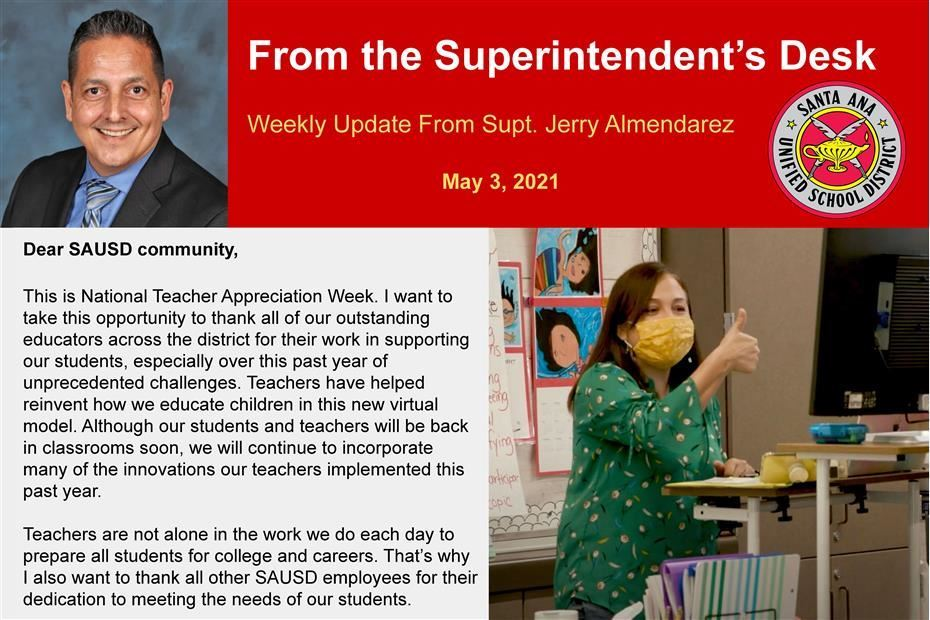 Weekly Update From Superintendent Jerry Almendarez, May 3, 2021