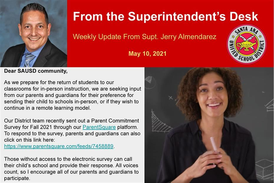 WEEKLY UPDATE FROM SUPERINTENDENT JERRY ALMENDAREZ: MAY 10, 2021