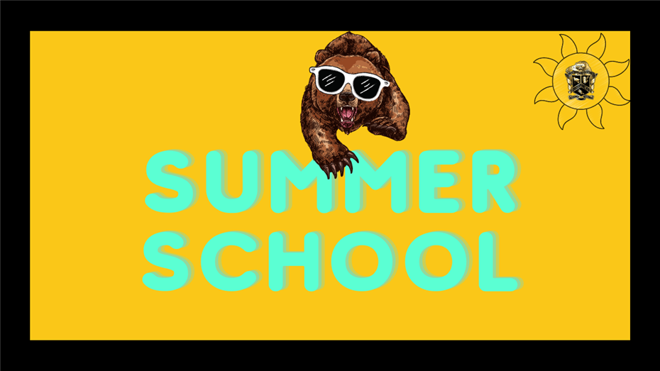 "Image of a Grizzly Bear Wearing Sunglasses over the Text ""Summer School"""