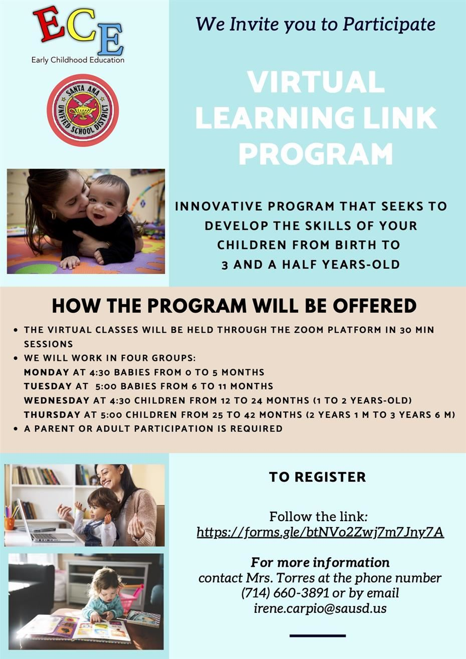 "Learning Link ""Parent and Me"" Program for Children 0-5 Years Old"
