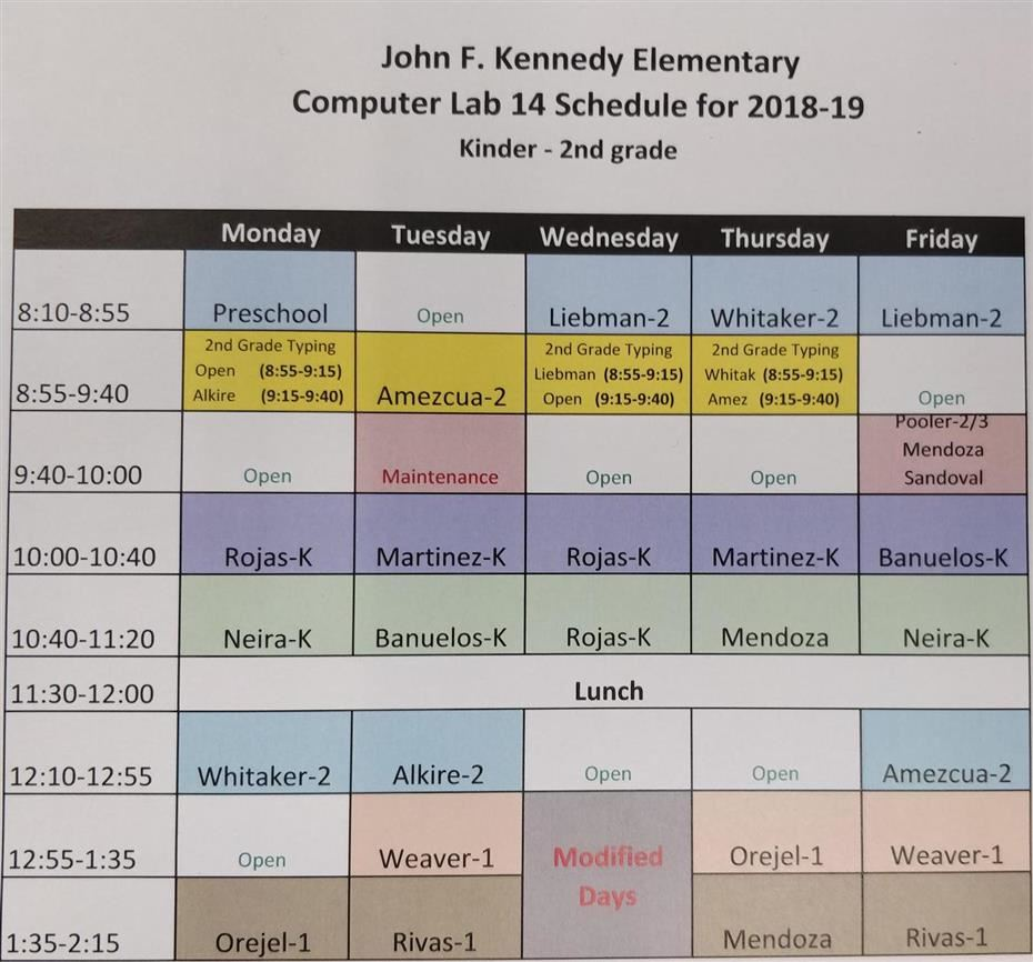 The computer lab schedule for Kennedy