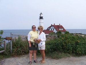 Mom and I in front of the Portland Head Light in Maine