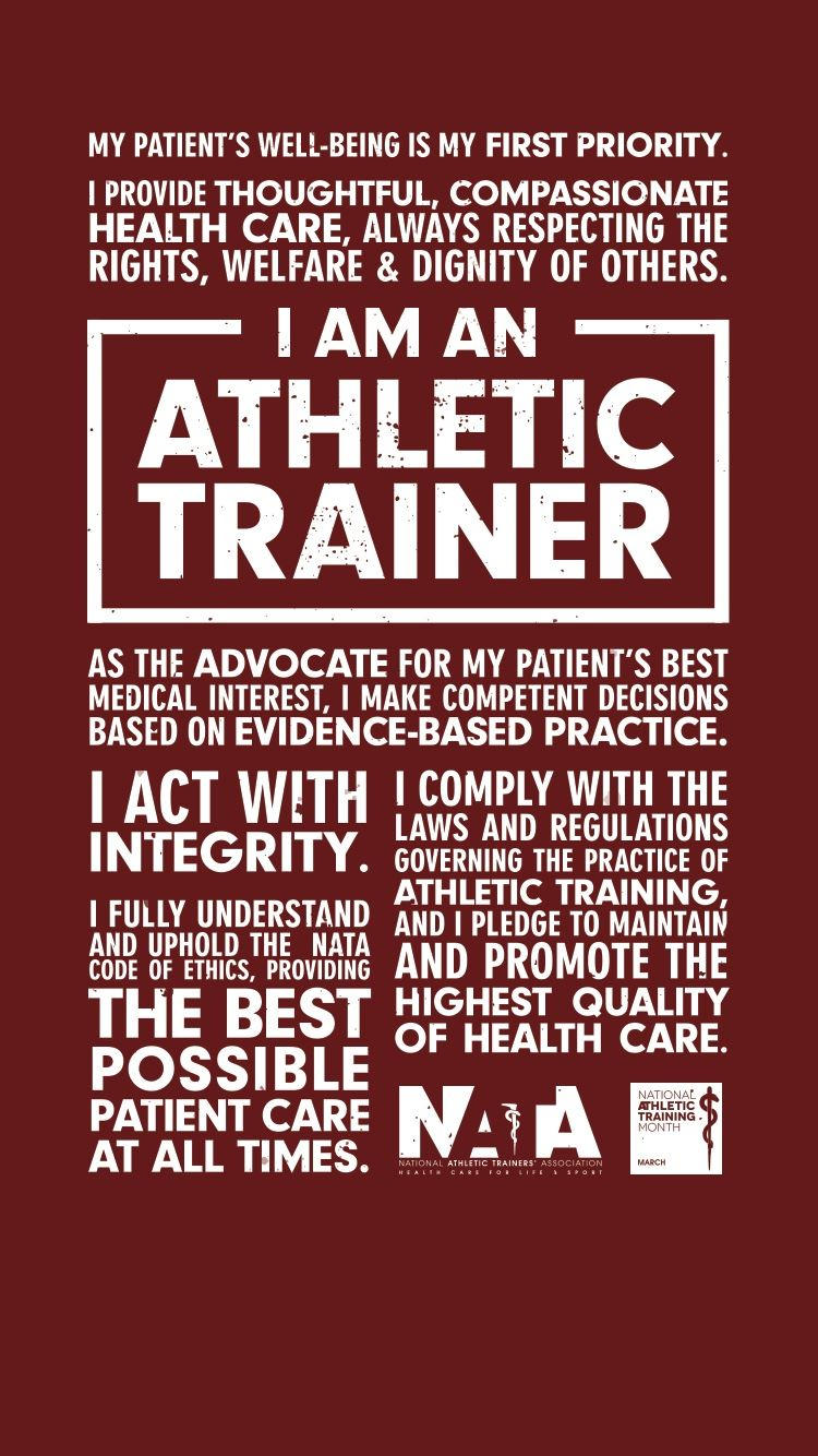 I AM AN ATHLETIC TRAINER
