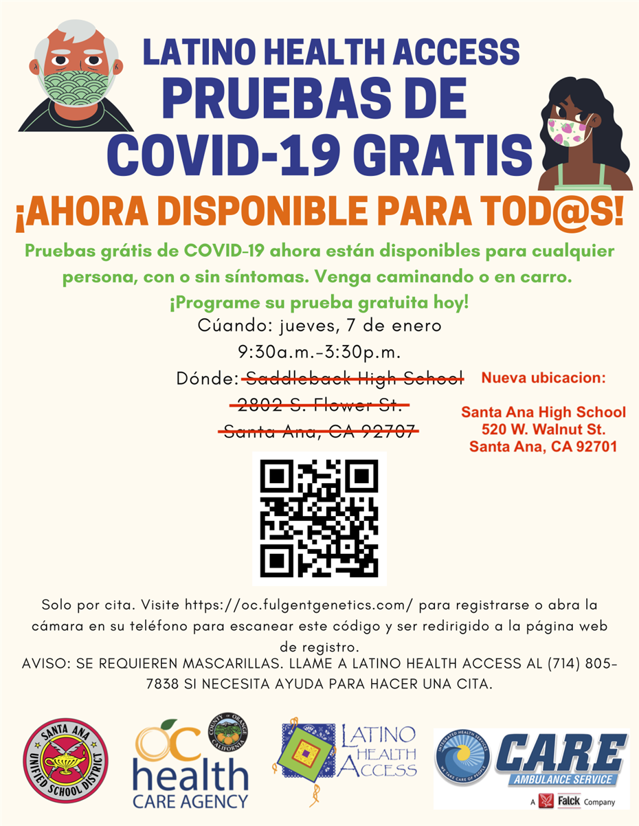 Jan. 7 Covid-19 testing at Santa Ana HS - Spanish flyer