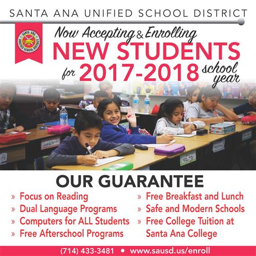 SAUSD now enrolling for 2017-18