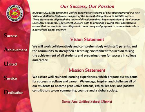 SAUSD Vision and Mission Statements - August 2012