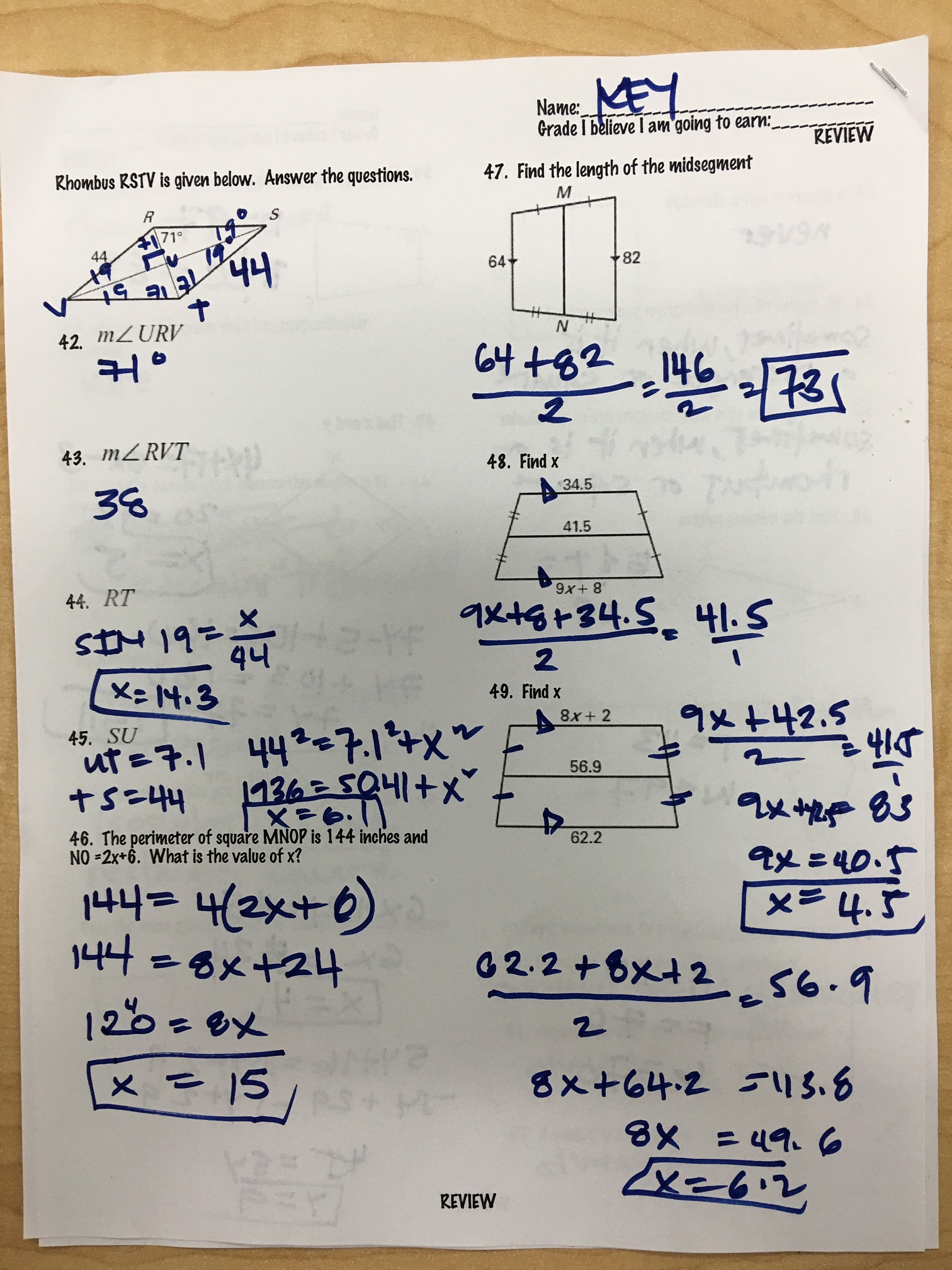 Quinanola, Mark / Honors Geometry Homework and Handouts