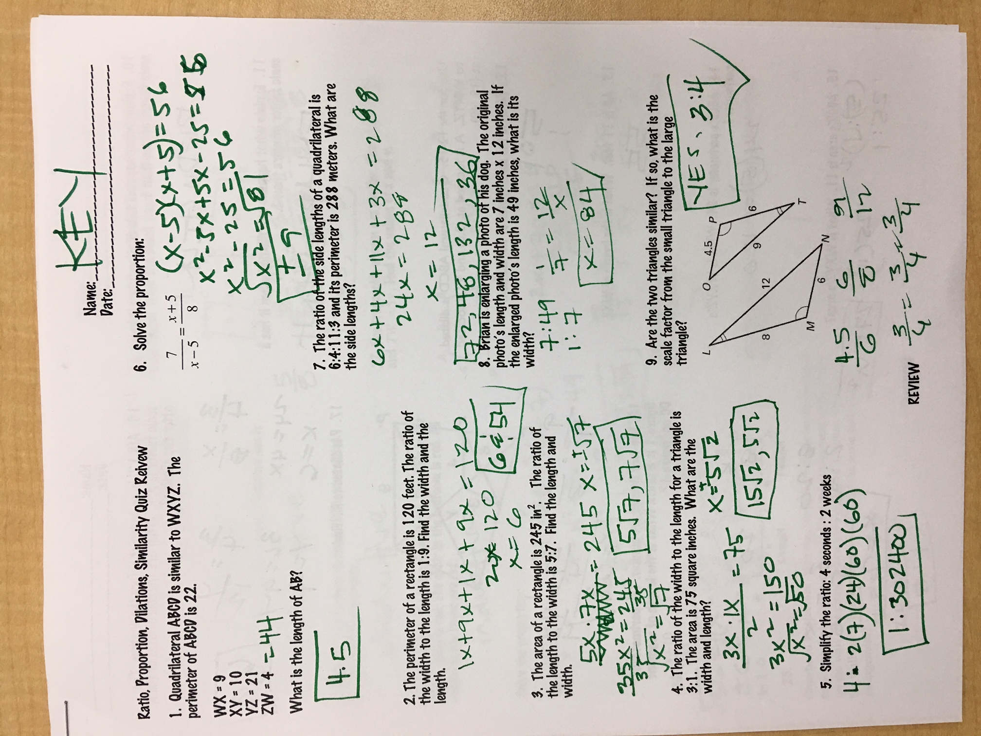 quinanola mark honors geometry homework and handouts ratio proportion similarity and dilations quiz review answers page1