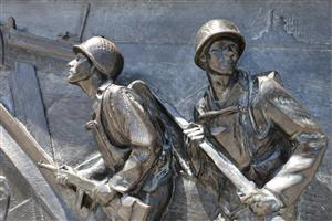 DC Bronze bas relief soldiers WWII