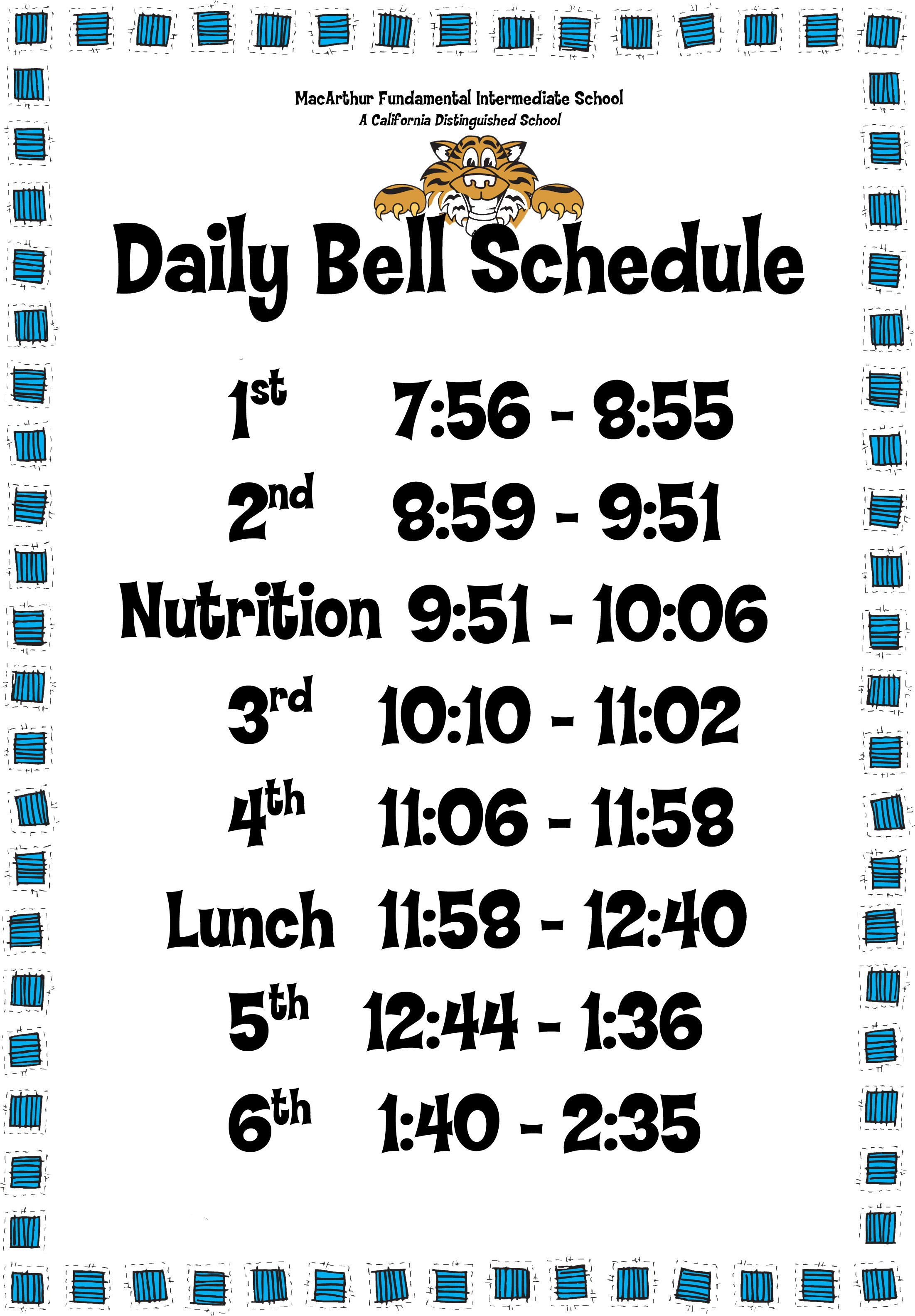 Daily Bell Schedule 6period day
