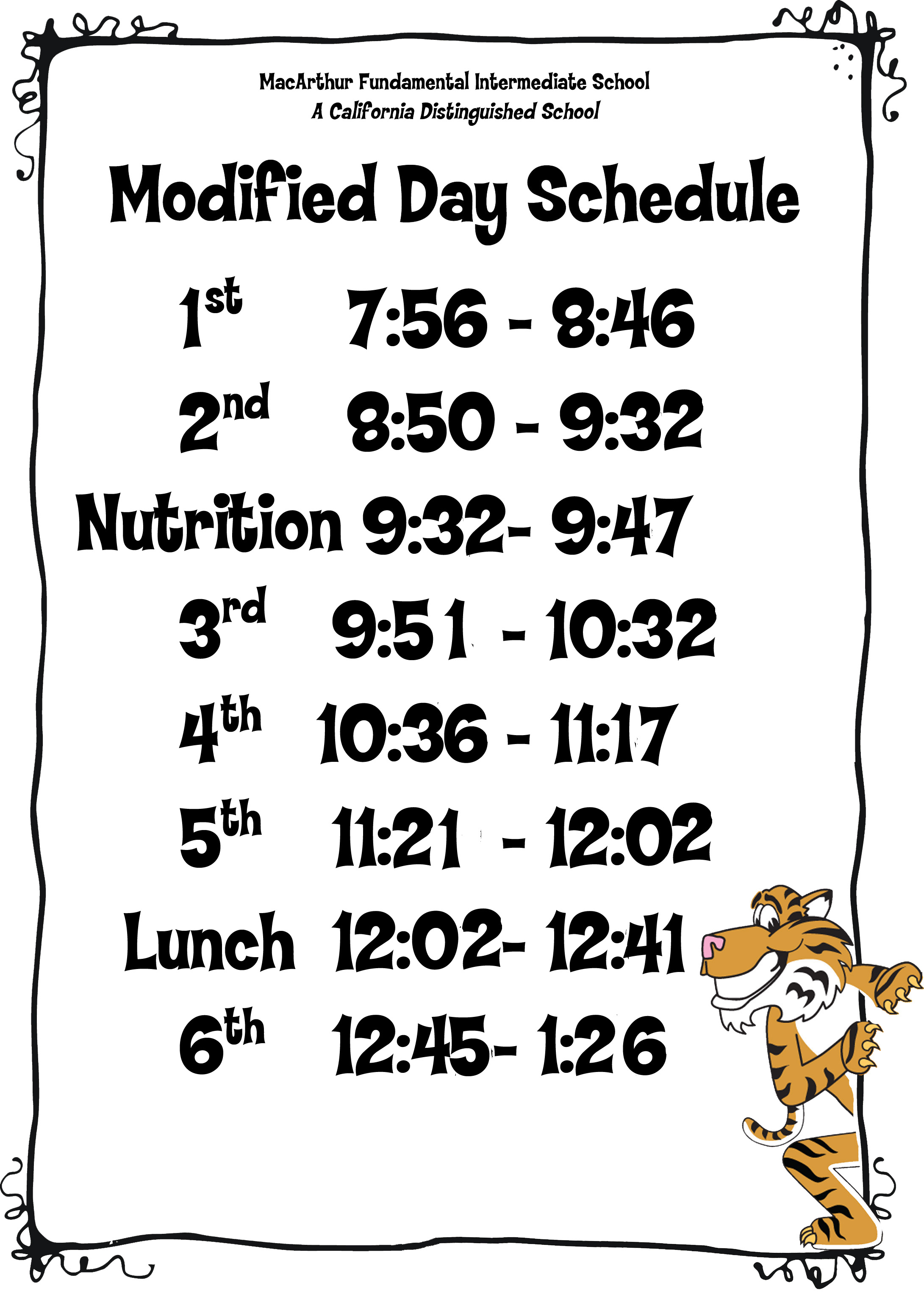 modified day schedule