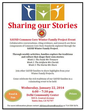 English Family Winter Project Flyer