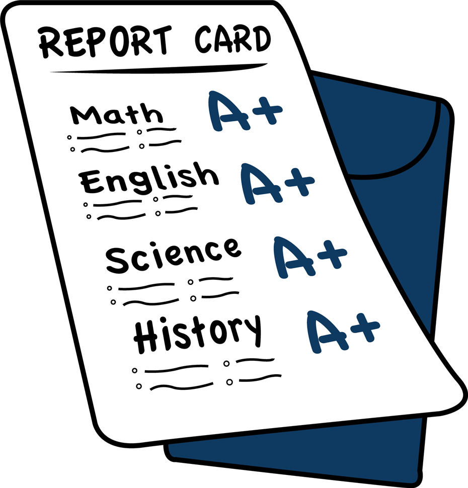 cartoon image of a report card