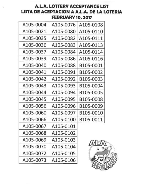ALA Lottery Acceptance List